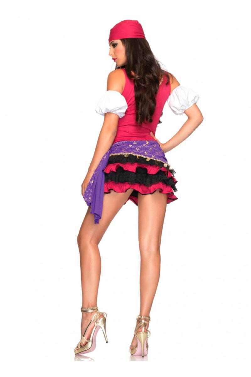 3 pzs. Gitana, incluye vestido con falda de volados, mangas y pañoleta.