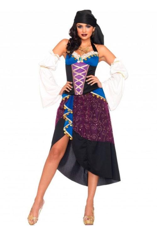 4 pzs. gitana tarotista, incluye bustie halter con moneda, falda con detalle de paño, pañoleta y mangas.