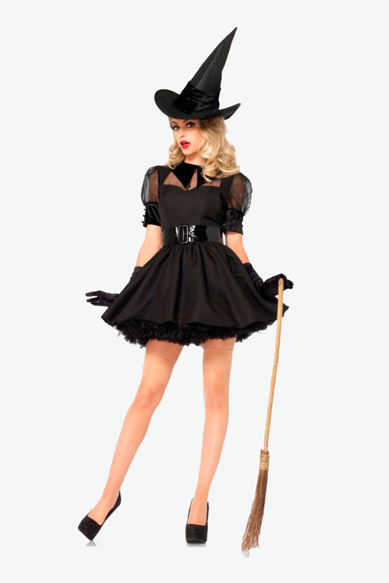 3pzs. Bruja encantadora, incluye vetido estilo vintage en organza y terciopelo, cinturon ancho y sombrero.