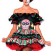 2pzs. Muñeca día de muertos, incluye vestido sin hombros con detalles de encaje y cinturon de calavera.
